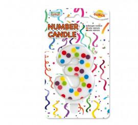 Vela Puntitos de colores con el número 3.