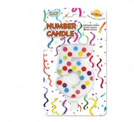 Vela Puntitos de colores con el número 5.