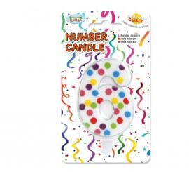 Vela Puntitos de colores con el número 6.