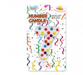 Vela Puntitos de colores con el número 7.