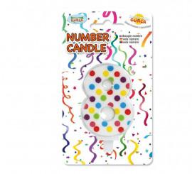 Vela Puntitos de colores con el número 8.
