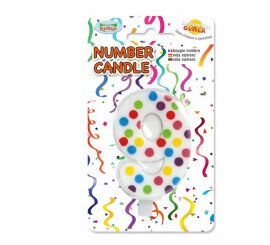 Vela Puntitos de colores con el número 9.
