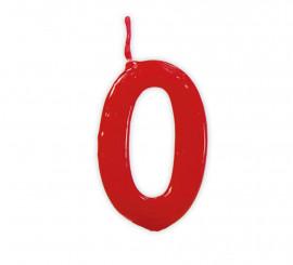 Vela roja con el número 0 para cumpleaños