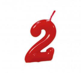 Vela roja con el número 2 para cumpleaños