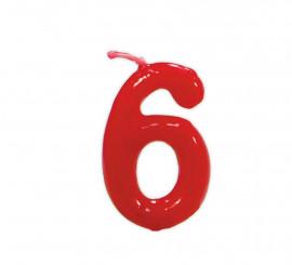 Vela roja con el número 6 para cumpleaños