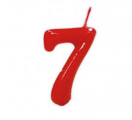 Vela roja con el número 7 para cumpleaños
