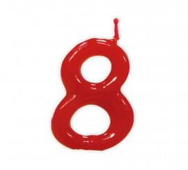 Vela roja con el número 8 para cumpleaños