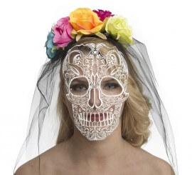 Velo y Careta de Catrina Día de Los Muertos con Flores
