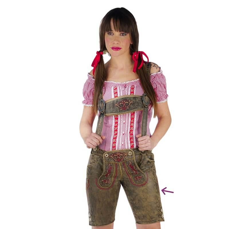 Pantalon Oktoberfest Bretelles Pour Avec Vert Brodé Femme vnm0w8N