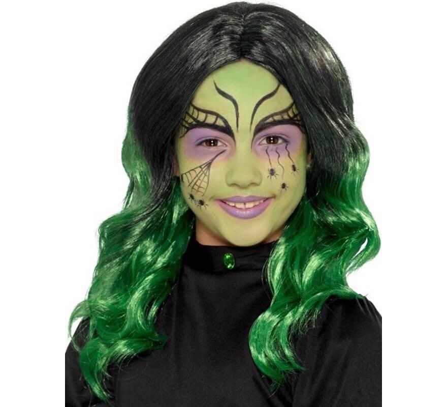 Peluca de Bruja Negra y Verde para niña