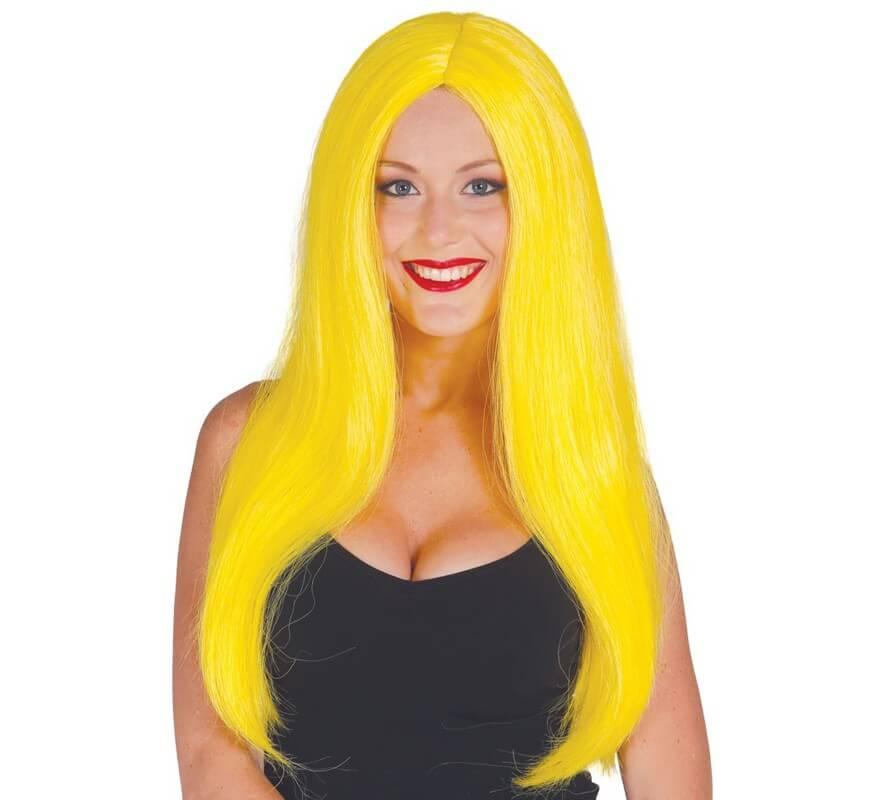 Peluca Melena Larga Amarilla Lisa