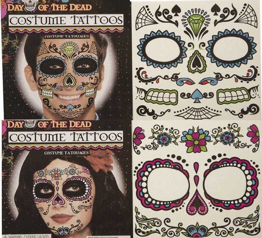 Plantilla De Tatuajes Día De Los Muertos 2 Modelos Surtidos