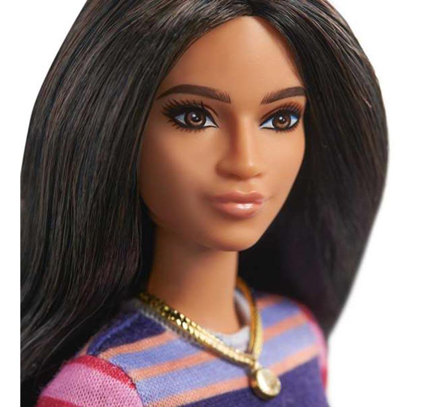 Barbie Muñeca Morena con Vestido de Rayas de Manga Larga-B