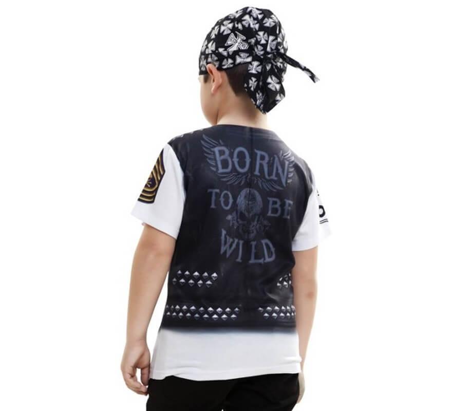 Camiseta disfraz Motero para niño-B