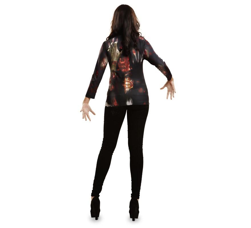 Camiseta disfraz Zombie para mujer para Halloween-B