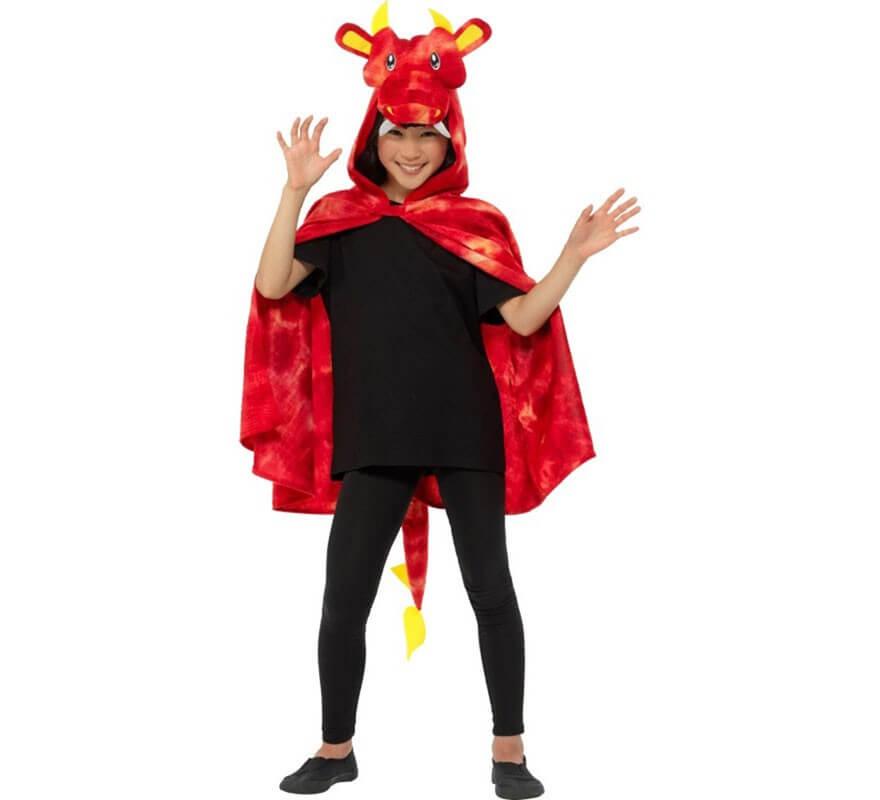 Capa de Dragón Rojo con Capucha y Cola-B
