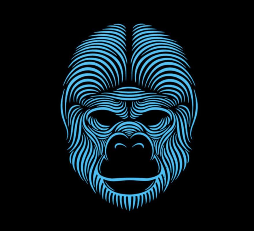 Careta de Gorila iluminación LED-B