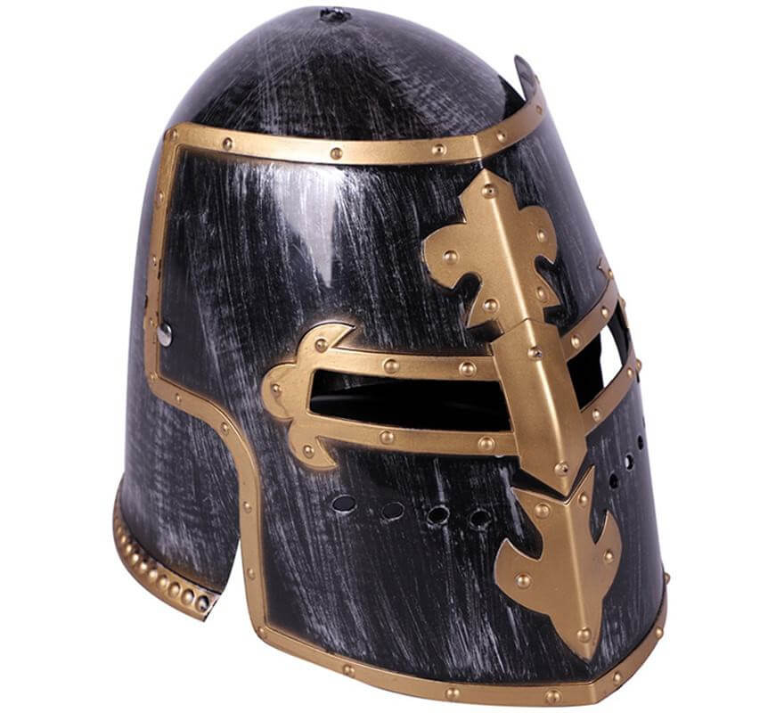 Casco de Guerrero Medieval Plateado-B
