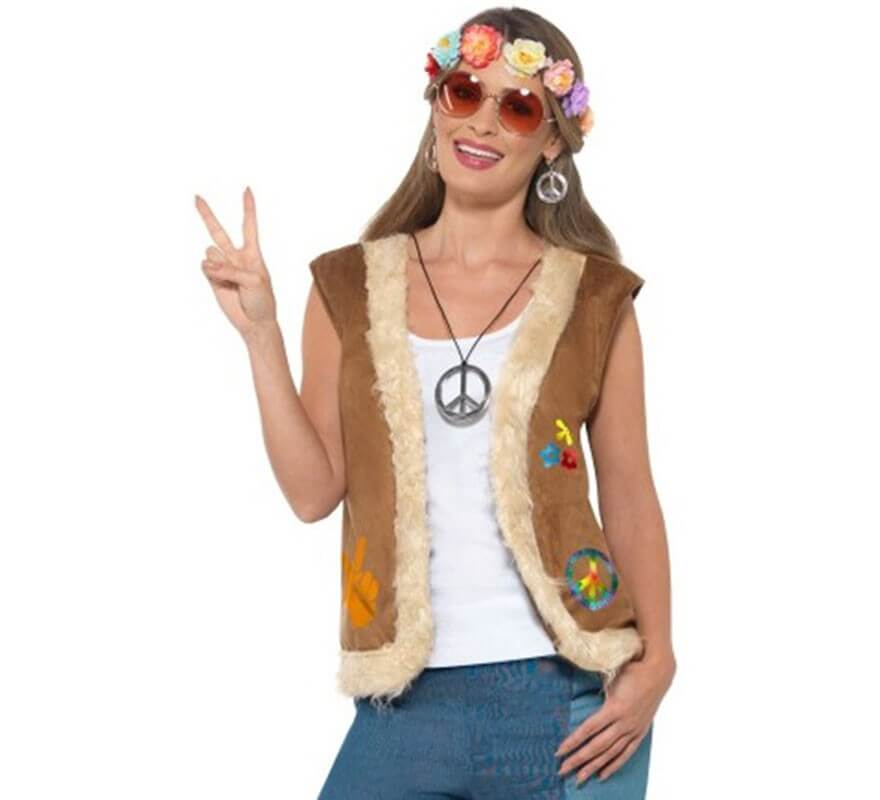 Chaleco Hippie Marrón con Símbolo para hombre-B