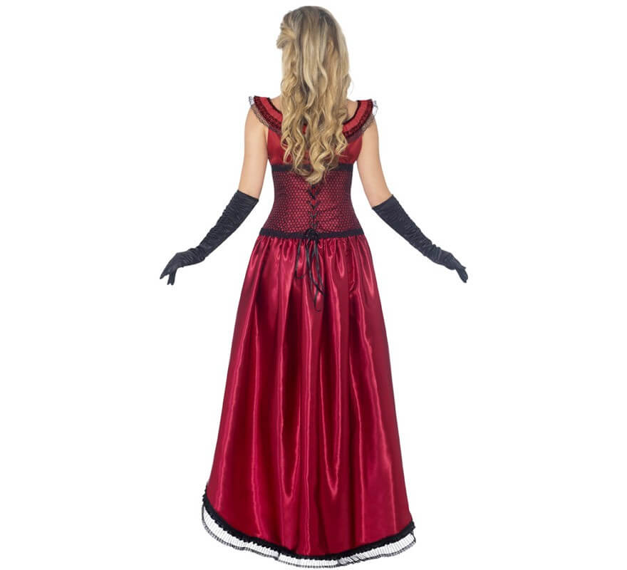 Disfraz Chica de Saloon color Burdeos para mujer-B