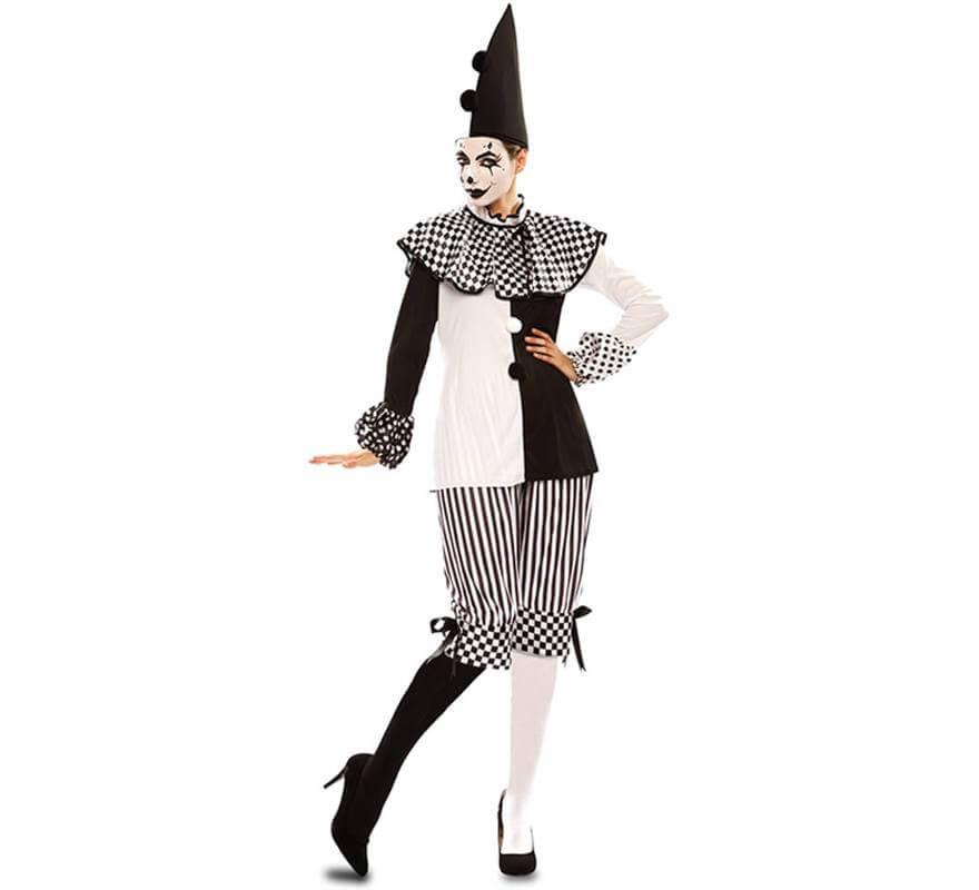 Disfraz de Arlequina Blanca y Negra para mujer-B