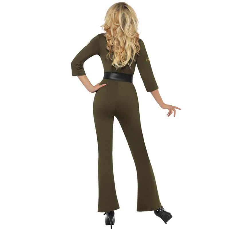 Disfraz de Aviadora sexy verde Top Gun para mujer-B