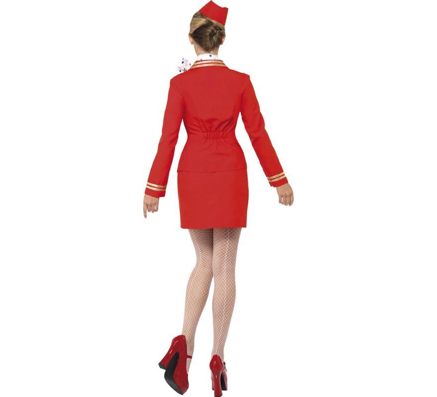 Disfraz de Azafata rojo sexy para mujer-B