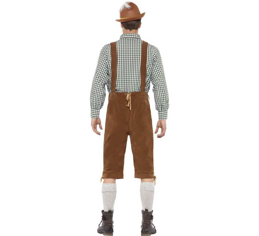 Disfraz de Bávaro Tradicional Marrón con Lederhosen para hombre-B