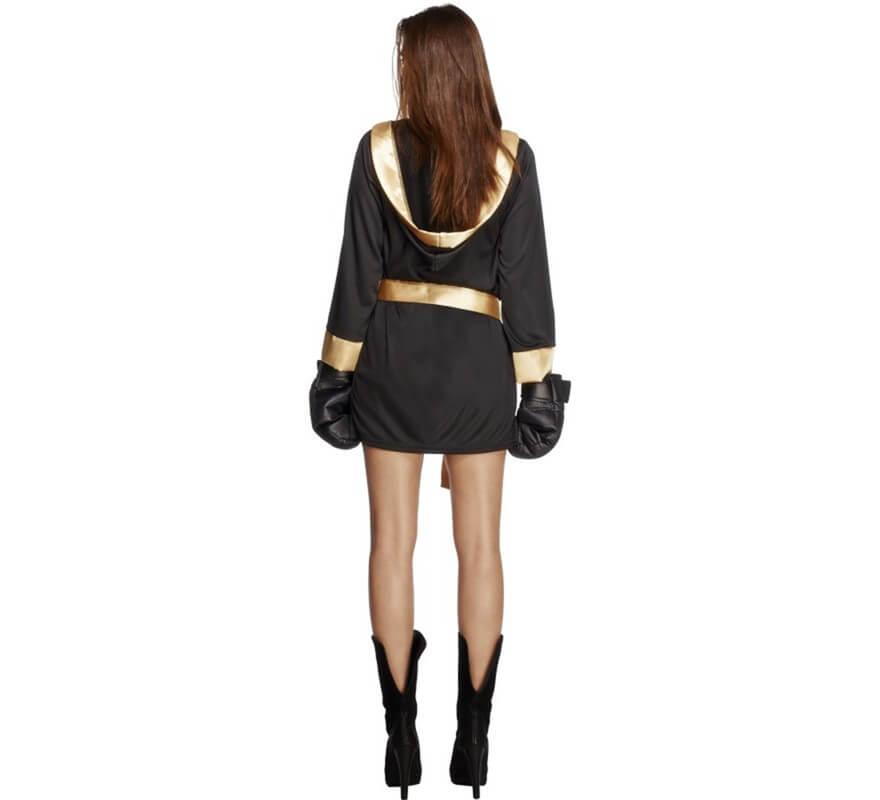 Disfraz de Boxeadora negro y dorado para mujer-B