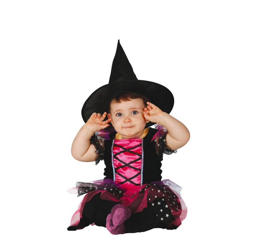 Fato de bruxa bebê rosa e preto-B