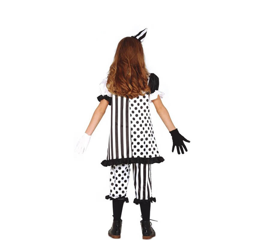 Disfraz de Bufona Blanca y Negra para niña-B