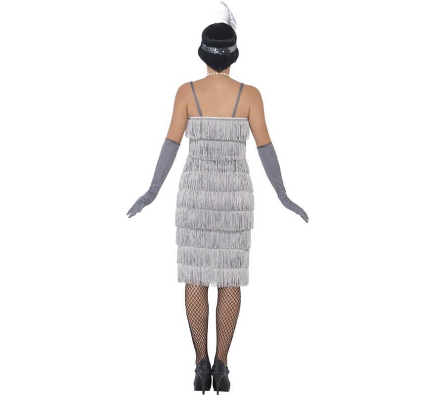 Disfraz de Cabaretera Plateado Largo de los años 20 para mujer-B