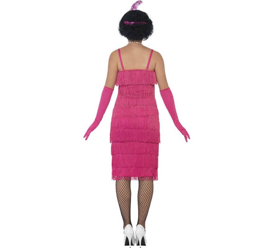 Disfraz de Cabaretera Rosa Largo de los años 20 para mujer-B