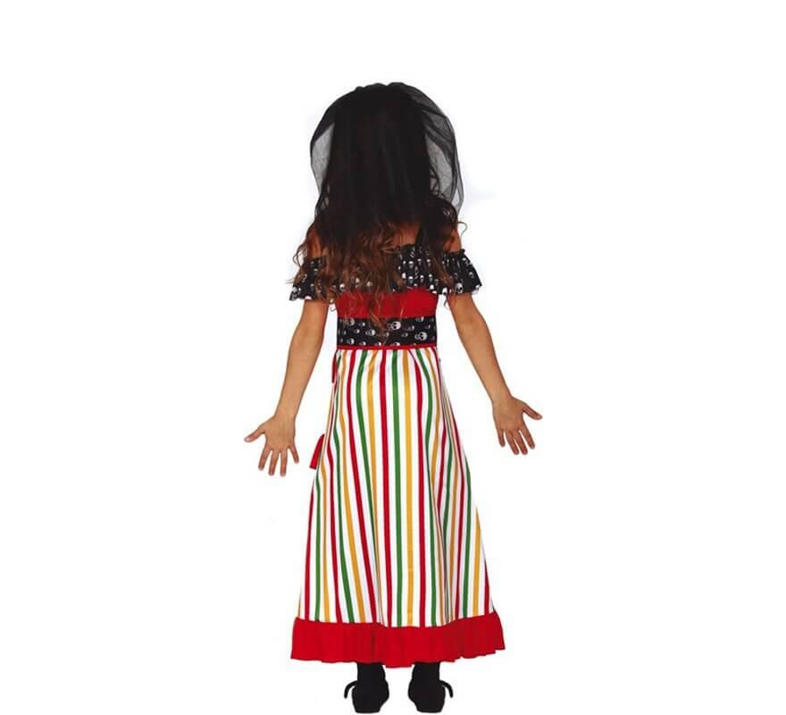 Disfraz de Catrina Roja del Día de Los Muertos para niña-B