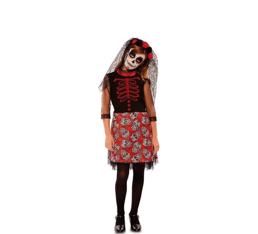 Disfraz de Catrina Roja para niña-B