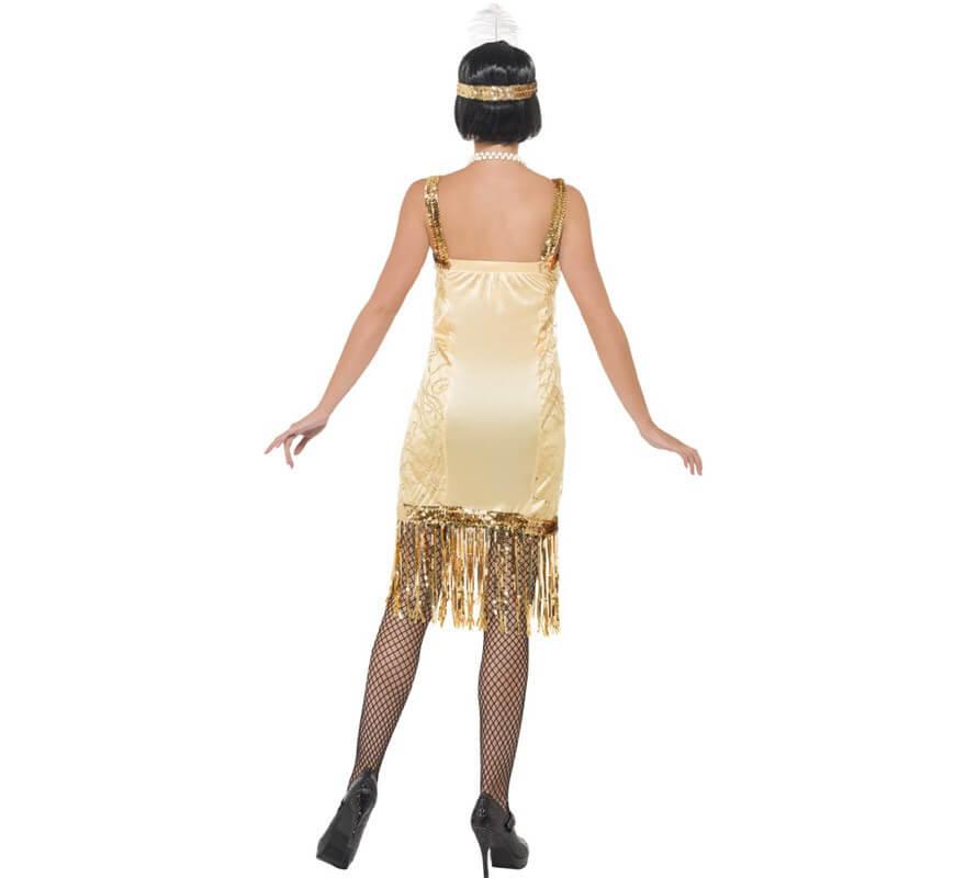 Disfraz de Charlestón Flapper Dorado para mujer-B