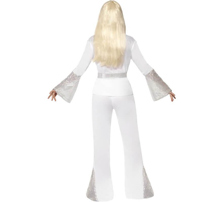 Disfraz de Chica Disco de los 70 Blanco para Mujer-B