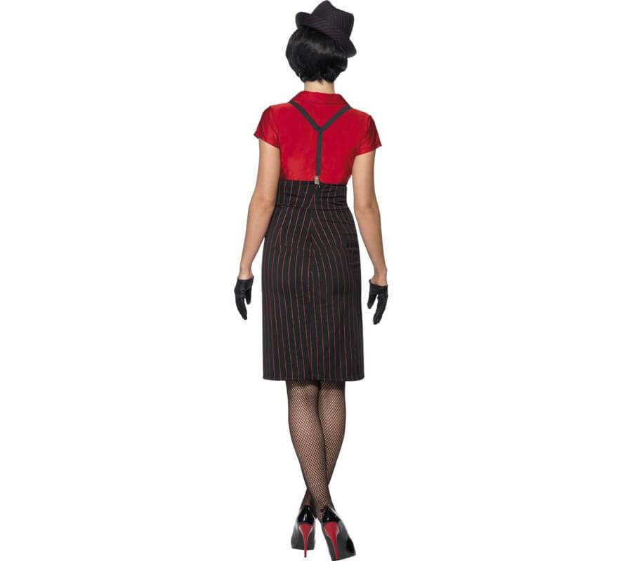 Disfraz de Chica Gánster Rojo y Negro para Mujer-B