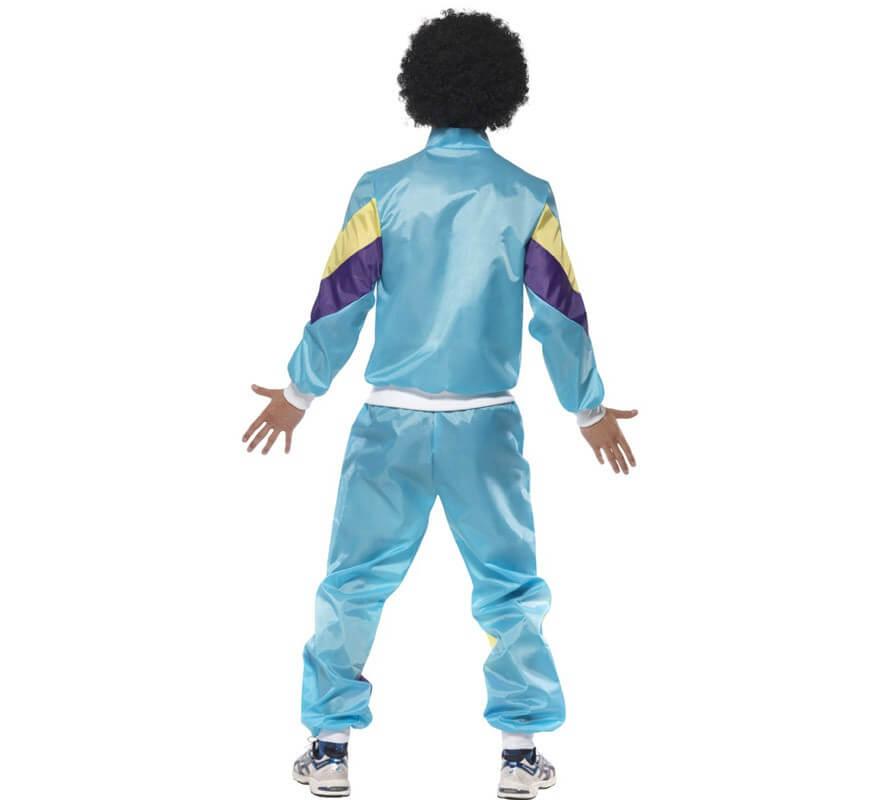 Disfraz de Chico Chandal Azul de los 80 para Hombre-B