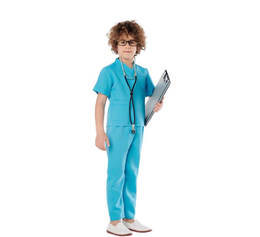 Disfraz de Doctora o Doctor Azul para Niños-B