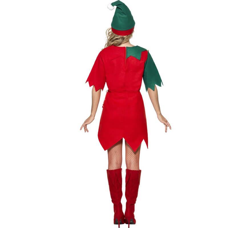 Disfraz de Elfo Verde y Rojo de Mujer para Navidad-B