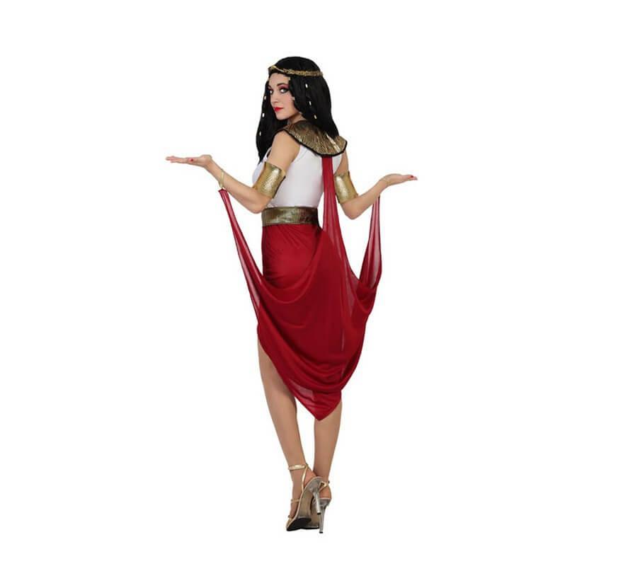 Disfraz de Faraona Egipcia con capa roja de mujer-B