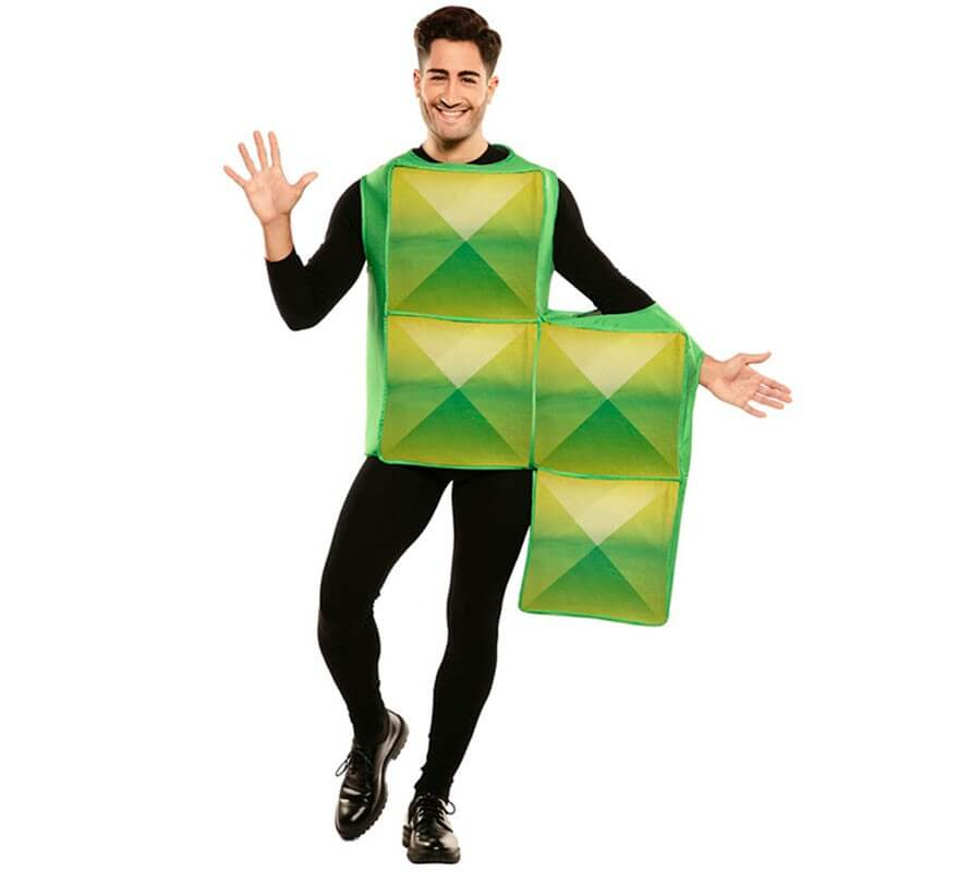 Disfraz de Figura de Tetris Verde para adultos-B