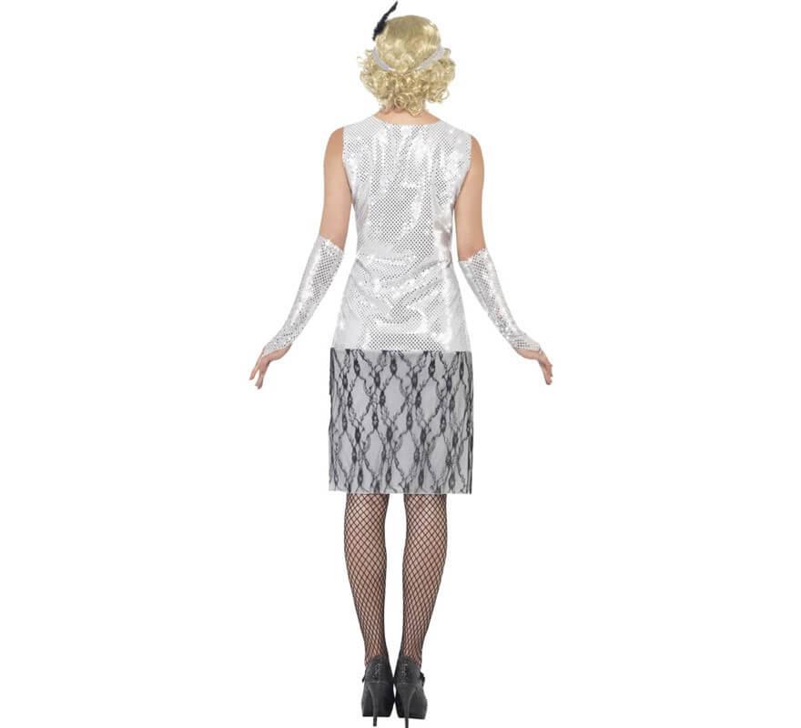 Disfraz de Flapper años 20 Plata para mujer-B