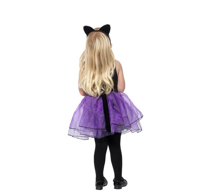 Disfraz de Gatita Negra y Morada para niña y Bebé-B