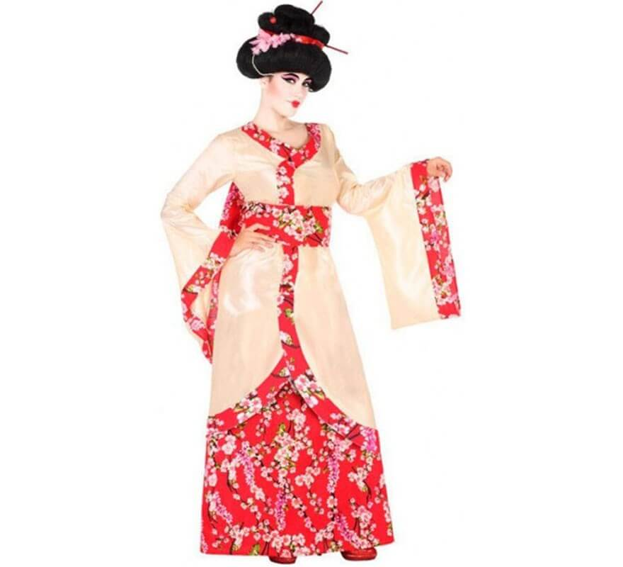 Disfraz de Geisha con Flores para mujer-B