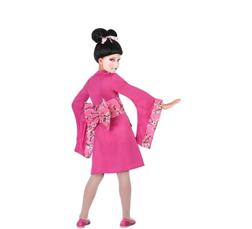 Disfraz De Geisha Rosa Con Flores Para Niña