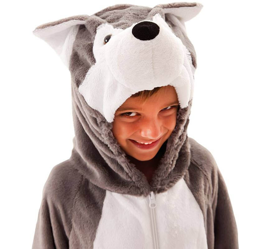 Disfraz de Lobo Gris para niños y bebé-B