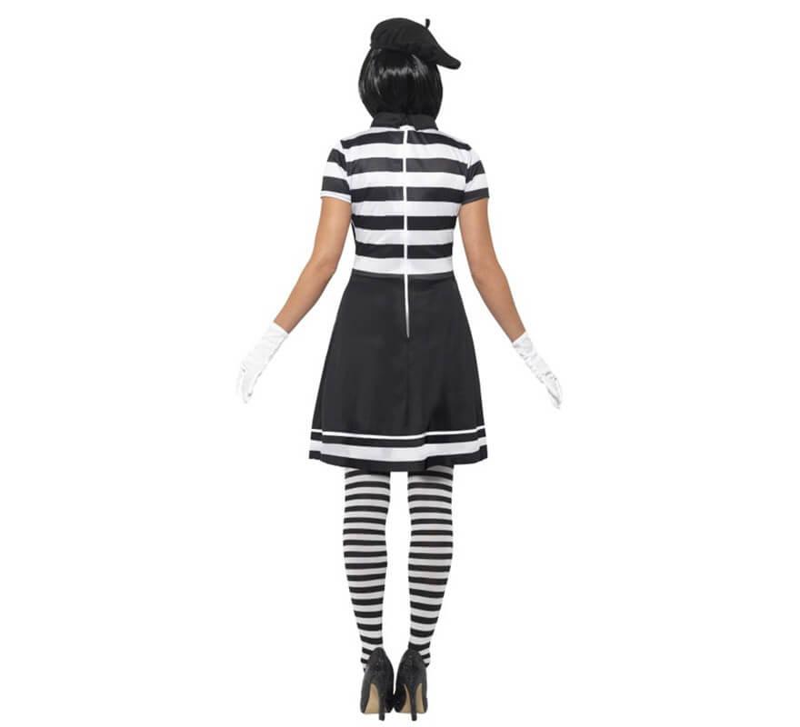Disfraz de Mimo blanco y negro para mujer-B