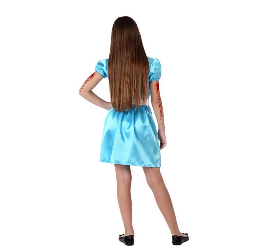 Disfraz de Niña ensangrentada azul para niña-B